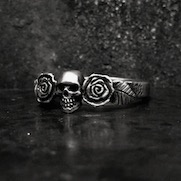 Tiny Skull with Rose Ring