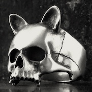 Human Cat Skull Ring