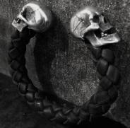 Large Skull Leather Bangle
